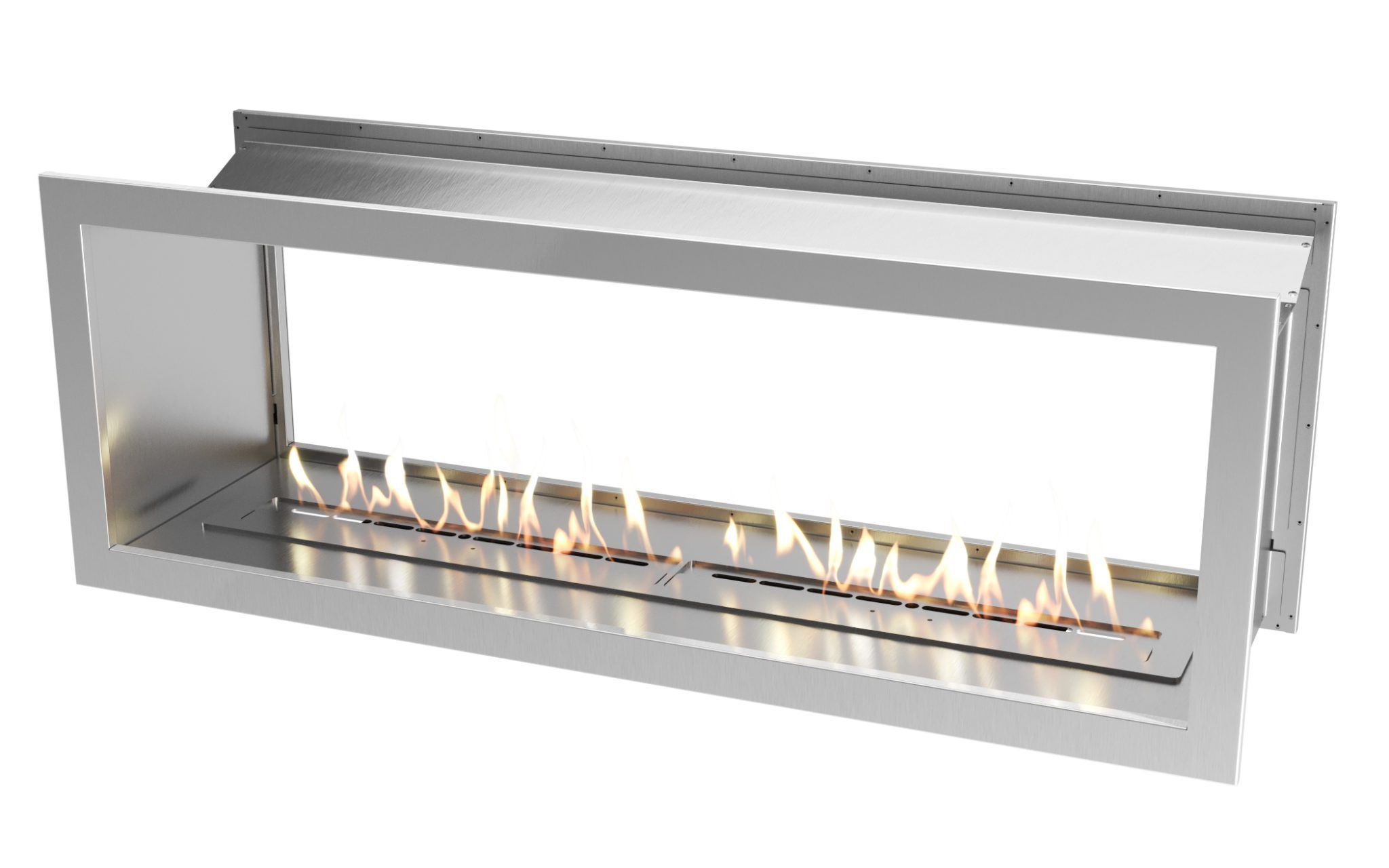1650 Stainless steel double sided firebox with 1400 slimline biofuel burner