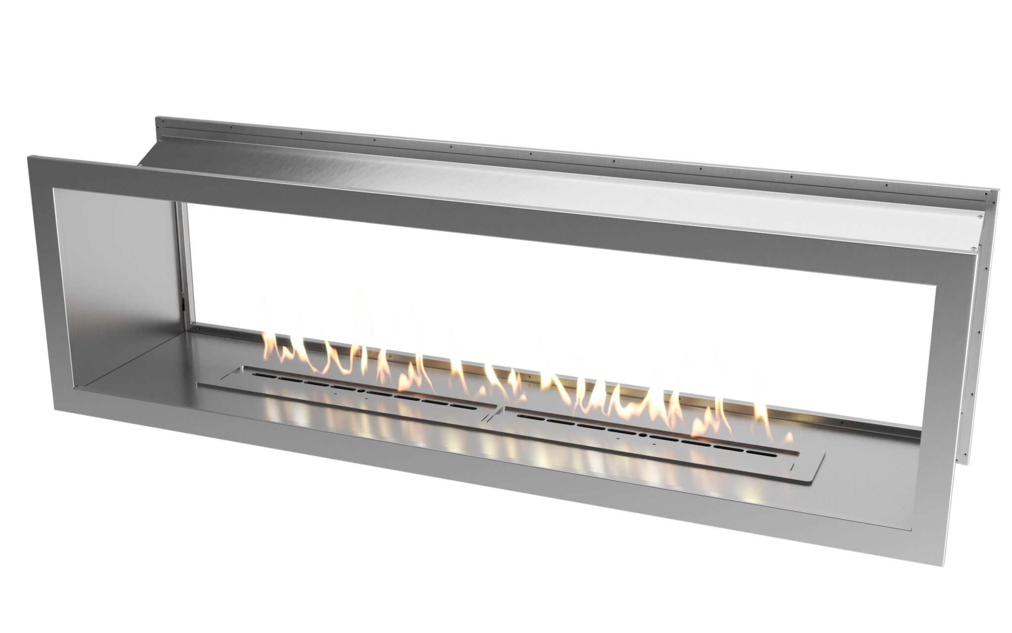 2000 Stainless steel double sided firebox with 1400 slimline biofuel burner