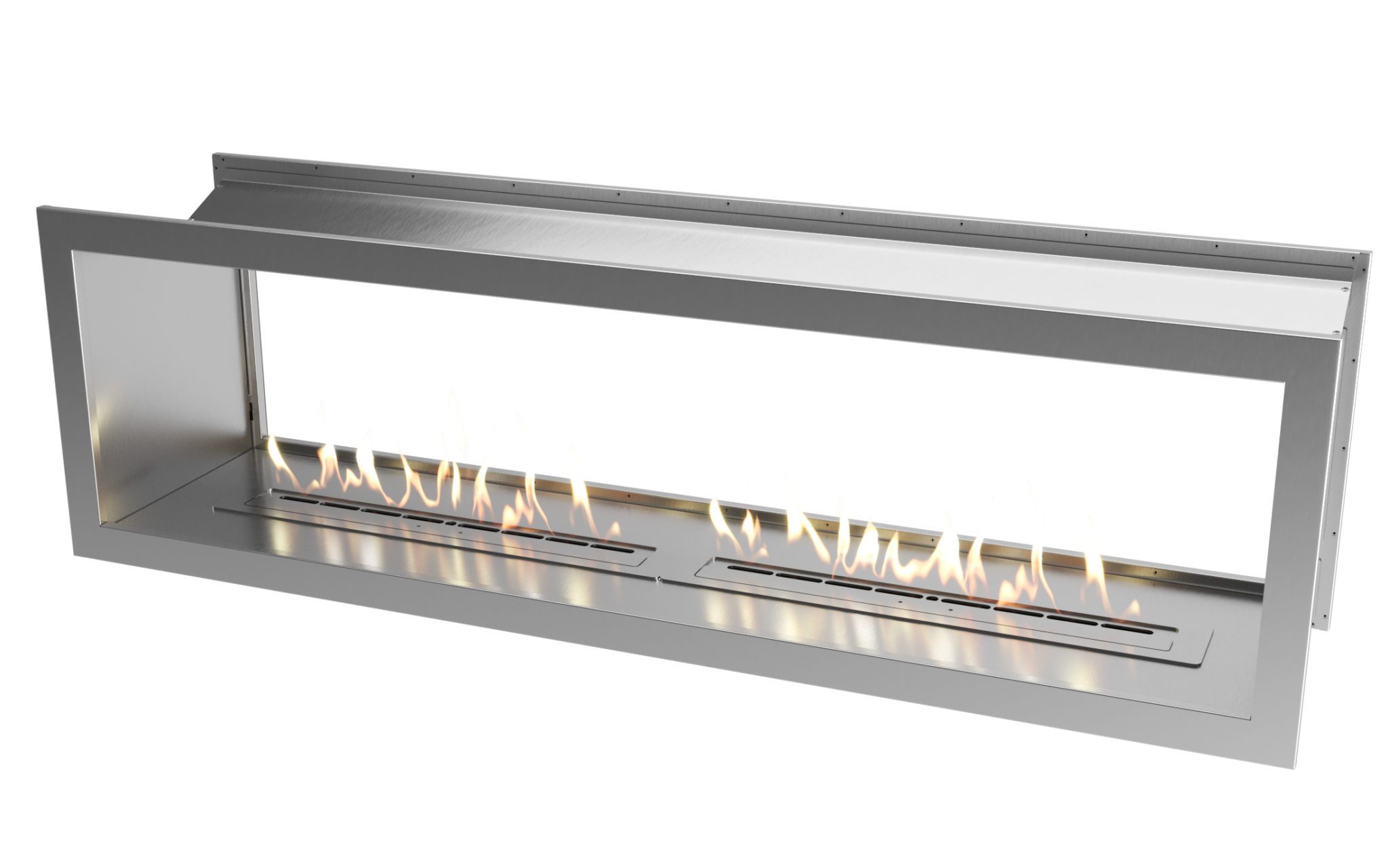 2000 Stainless steel double sided firebox with dual 800 slimline biofuel burners