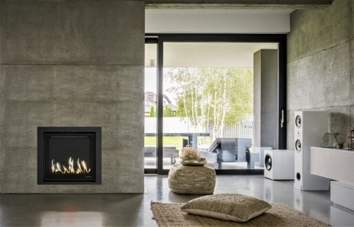 Element 80 gas fireplace with black glass back