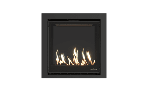 Element 80 gas fireplace with black glass back panel