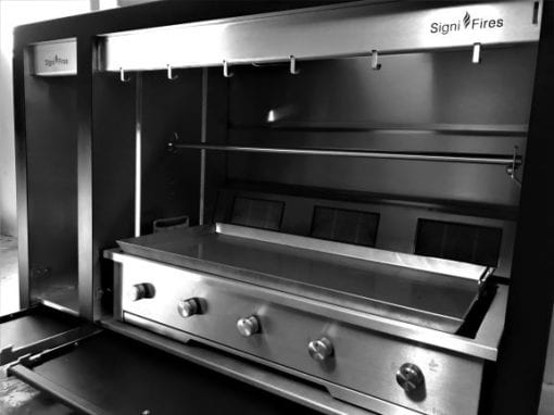 Spit braai with black powder coated door and frame